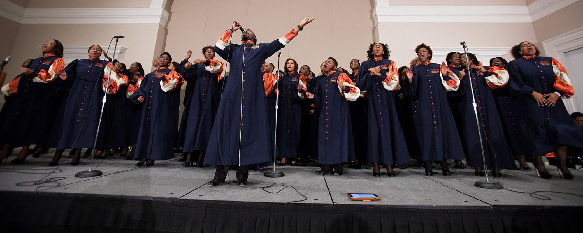 Virginia State University Gospel Chorale performing.
